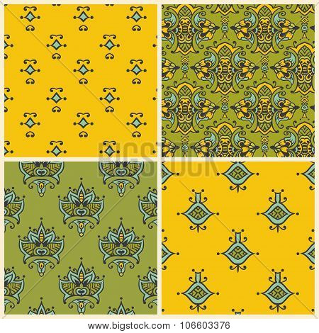 Seamless vector set of asian patterns