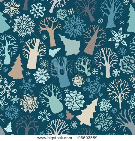 Seamless Winter Trees Pattern.