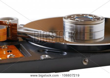 Closeup Of An Opened Hard Disk Drive (hdd)