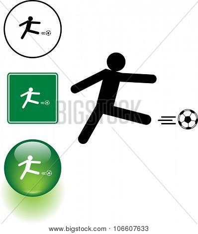 Soccer player kicking a ball symbol sign and button