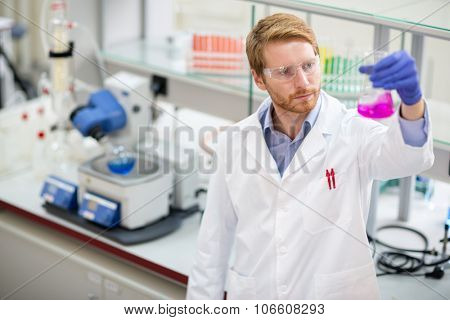 Young scientist observing liquid reagent in laboratory