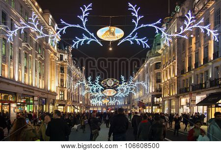 LONDON, UK - NOVEMBER 30, 2014: Black Friday weekend in London the first sale before Christmas.