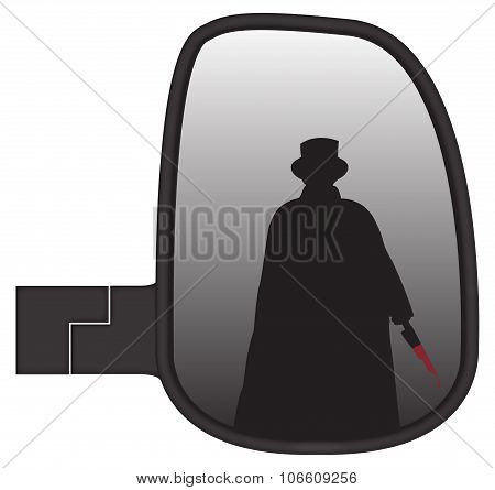 Jack The Ripper In Truck Side Mirror