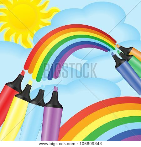 Colorful Markers And Rainbow. Vector Illustration