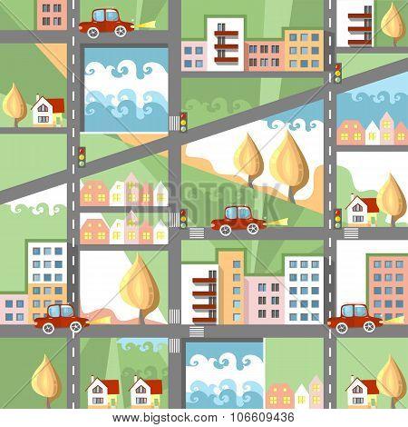 Cute Cartoon City Map