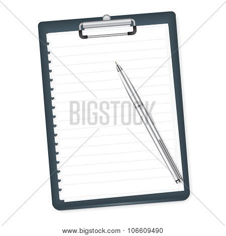Clipboard With Blank Paper And Pen On A White Background. Vector Illustration