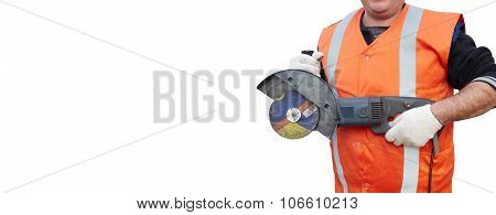 Mature Contractor And Angle Grinder