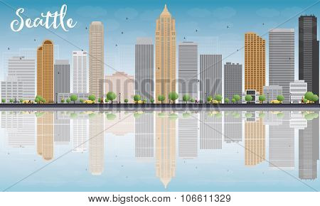 Seattle City Skyline with Grey Buildings, Blue Sky and reflections. Business travel and tourism concept with place for text. Image for presentation, banner, placard and web site.