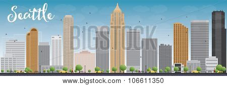 Seattle City Skyline with Grey Buildings and Blue Sky. Business travel and tourism concept with modern buildings. Image for presentation, banner, placard and web site.