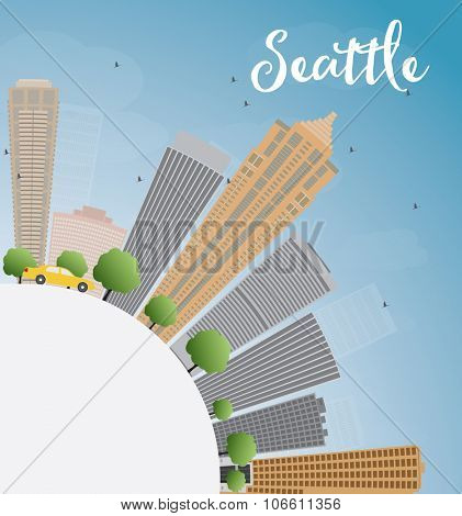 Seattle City Skyline with Grey Buildings, Blue Sky and copy space. Business travel and tourism concept with place for text. Image for presentation, banner, placard and web site.