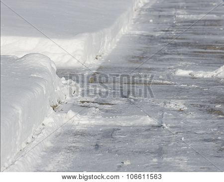 Sidewalk Shoveled of Snow