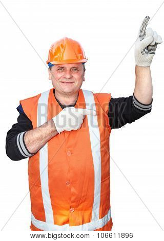Mature Contractor Shows Gesture