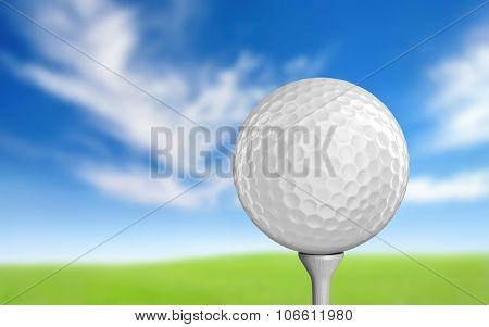 Plain white golf ball sitting on a tee