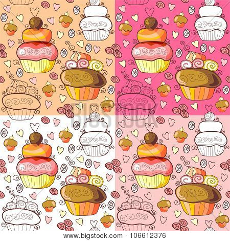 Pattern Of Tasty Sweet Cupcakes. Vector Illustration