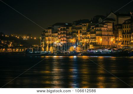 Overview Of Old Town Of Porto, Portugal At Night
