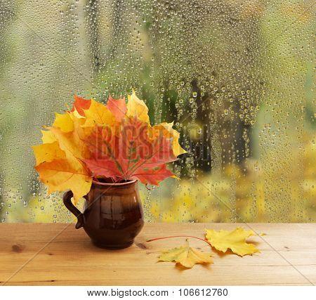 autumn leaves on window sill