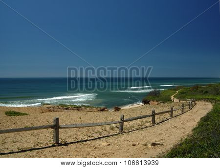 Trail in Montauk under a blue sky in spring