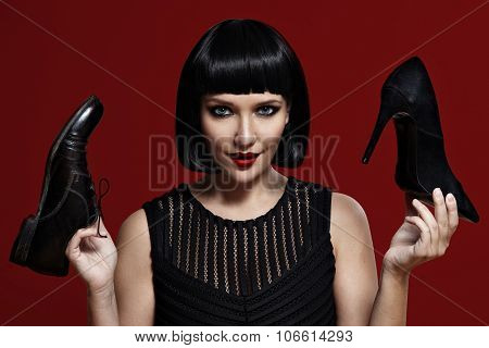 Woman Choosing Heels Or Comfortable Shoes