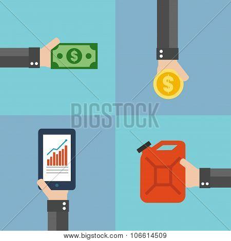 Oil business concept design flat set