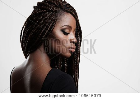 Black Woman With Braids And Evening Smokey Eyes