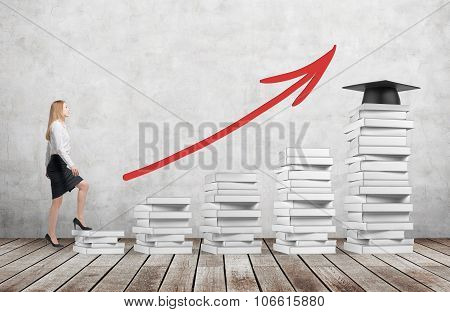 A Woman In Formal Clothes Is Going Up Using A Stairs Which Are Made Of White Book. A Graduation Hat