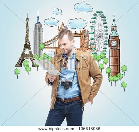 A Handsome Tourist In Casual Clothes With Camera Trying To Find A Location In The Map. Drawn Sketche