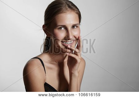 Beauty Young Woman With Braces