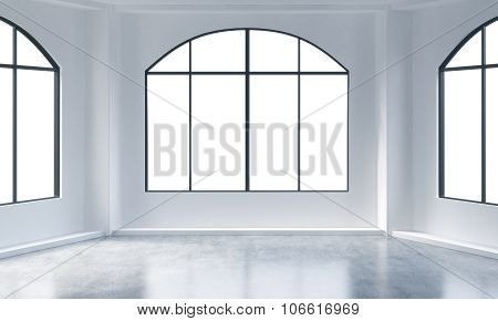 An Empty Modern Bright And Clean Loft Interior. Huge Panoramic Windows With White Copy Space And Whi