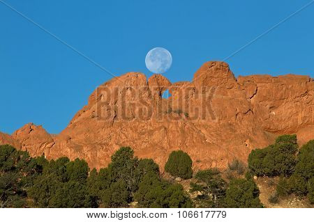 Full Moon Setting on the Garden of the Gods