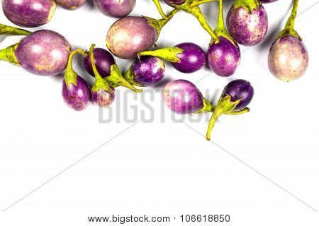 Purple Eggplant On White Background, Top View, Space For Caption