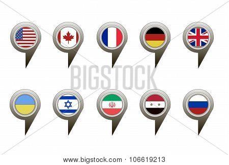 Collection of flag button design. Vector.
