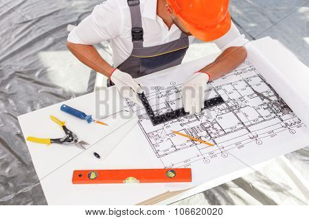 Professional male engineer is working on new project
