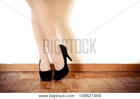 Young Sexy Woman Feet With Black High Heels And Legs