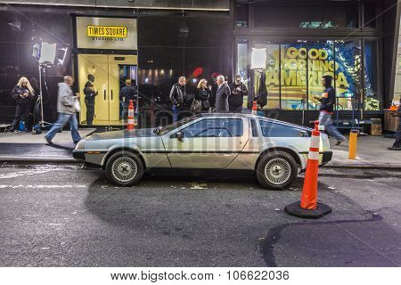 People Admire The Famous Original Amc Chrome Car From The Film Back To The Future