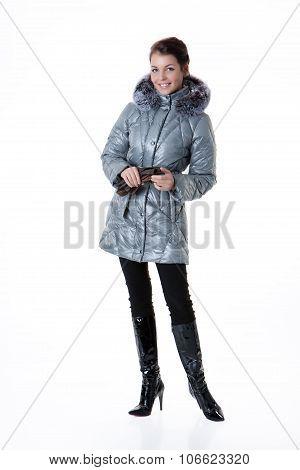 Young Beautiful Woman In Winter Coat
