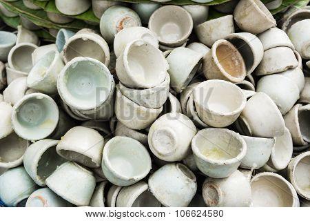Dessert Thai Coconut Milk Custard In Small Porcelain Cup