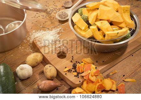 Cooking Scene - Preparing A Pumpkin Soup On A Countertop