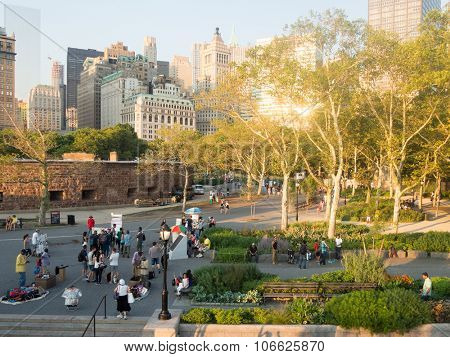 NEW YORK,USA - AUGUST 16,2015 : Battery Park with a view of Castle Clinton and the downtown Manhattan skyline