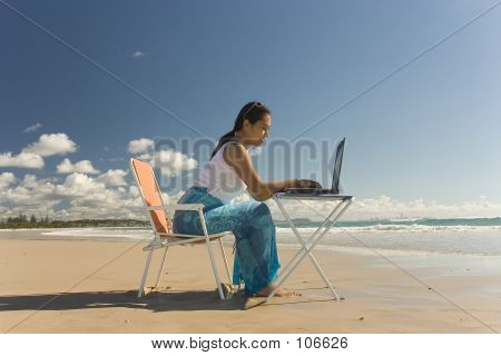 Working Outdoor With Notebook Computer