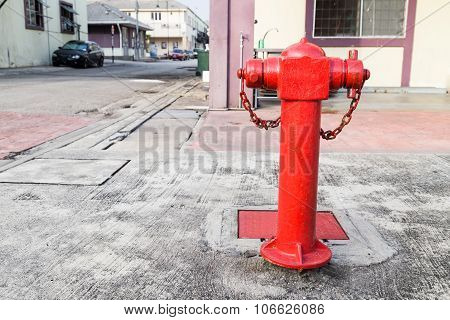 Red Fire Hydrant At Strategic Commercial Area Ready For Emergency