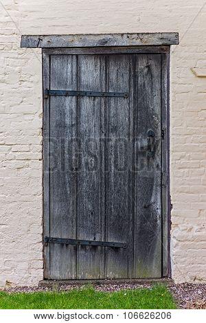 Old tudor wooden house back door antique medieval