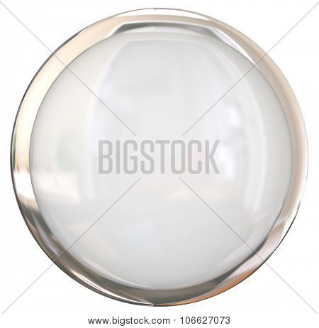 Blank white round shiny button with blank space for your copy or text