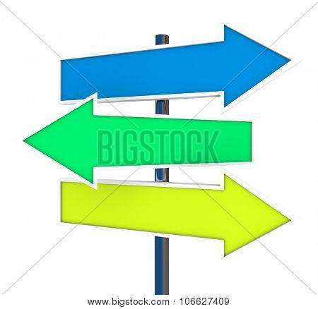 Three arrow signs representing multiple opportunities, directions, ways, routes and directions