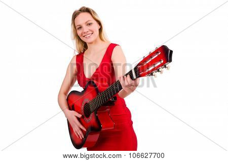 Blond hair woman with guitar isolated on white
