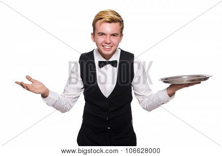 Waiter holding plate isolated on white