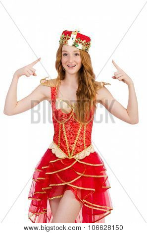 Princess wearing crown and red dress isolated on white