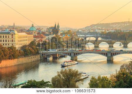 Prague cityscape, Manes bridge and Charles Bridge in Prague, Cze