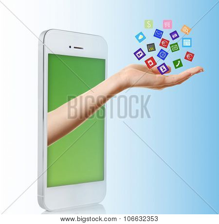 Smartphone with vector icons on hand, on blue background
