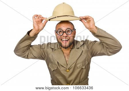 Funny safari traveller isolated on white