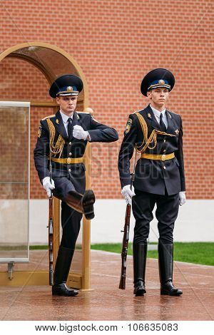 Post honor guard at the Eternal Flame in Moscow at the Tomb of the Unknown Soldier in the Alexander